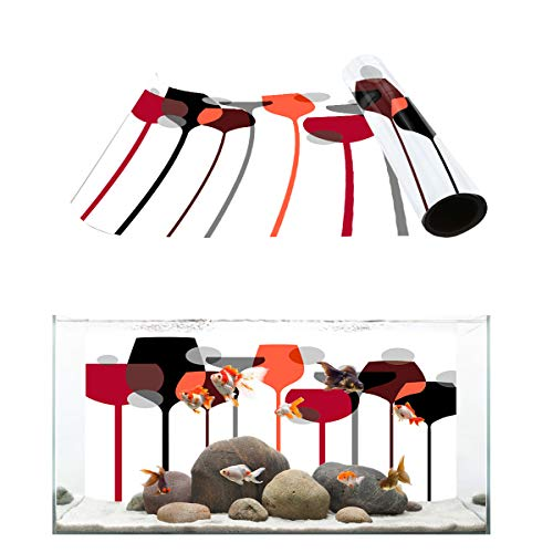 """Fantasy Star Aquarium Background Modern Art Design Goblet Red Wine Glass Pattern Fish Tank Wallpaper Easy to Apply and Remove PVC Sticker Pictures Poster Background Decoration 18.4"""" x 48.8"""""""
