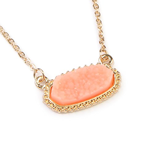 Oval Peach - MYS Collection Riah Fashion Women's Druzy Stone Oval Pendant Necklace (Peach)
