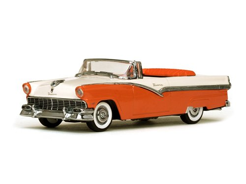 Fairlane Toy - 1956 Ford Fairlane Victoria Open Convertible Mandarin Orange and Colonial White 1/43 Diecast Model Car by Vitesse 36277