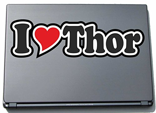 INDIGOS UG - I Love Heart Decal Sticker Laptopskin 210 mm - Ich Liebe - I Love Thor - Laptop Netbook Computer - Sticker with Name of Man Woman Child
