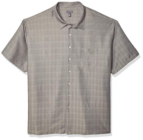 Van Heusen Men's Big and Tall Air Short Sleeve Button Down Poly Rayon Stripe Shirt, Grey Nickel, 4X-Large