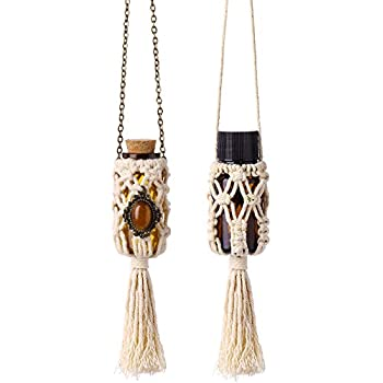 Dahey Mini Macrame Hanging Car Diffuser,Refillable Car Aromatherapy Essential Oil Diffuser Bottle with Cap, Macrame Hanging Car Decor Bottle, 2 Pack 10ml Empty Bottles