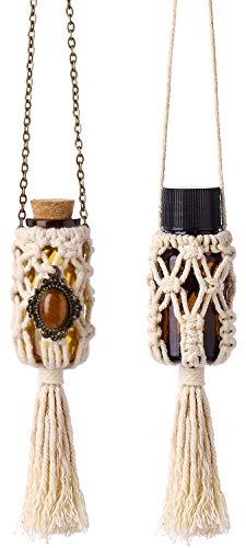 (Dahey Mini Macrame Hanging Car Diffuser,Refillable Car Aromatherapy Essential Oil Diffuser Bottle with Cap, Macrame Hanging Car Decor Bottle, 2 Pack 10ml Empty Bottles)