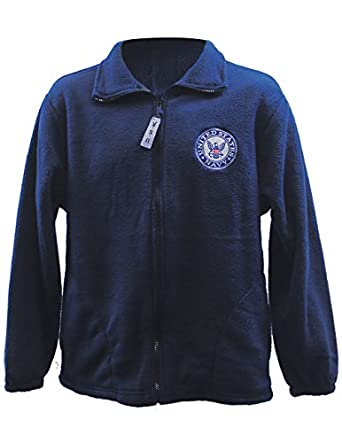 Amazon.com: US Navy Military Soft Polar Fleece Jacket, Zip-up Logo ...