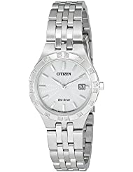 Citizen Eco-Drive Womens Sport Quartz Stainless Steel Casual Watch, Color: Silver-Toned (Model: EW2330-51A)