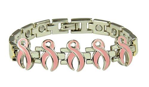 4031683 Pink Ribbon Magnetic Bracelet Adjustable Removable Links Breast Cancer Magnet Health Survivor Fighter