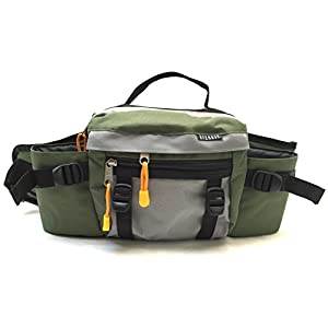 Premium Fanny Waist Lumbar Pack with Dual Squeeze Water Bottle Holder Hiking Climbing Walking Outdoors by Everest (Green)