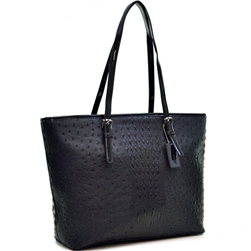 Buckle Tote Bag (Dasein Women's Large Zip Top Multifunction Buckle Tote Bag Shoulder Purse Handbag 2591 Black)