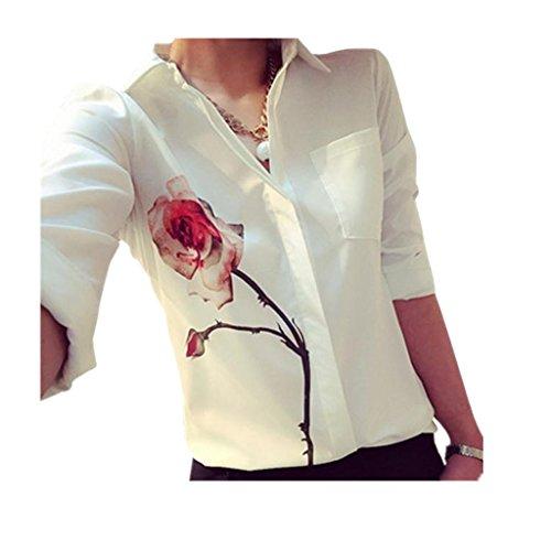 Chemises Fleur Chemisier Femmes Rose Malloom De Chemise Longues Col Le Manches Du Soie Vers Bas Mousseline Tourner En XSqPfXw
