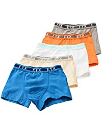 Boys Boxer Briefs Underwear Cotton Breathable Boxer Shorts 5 Pack 4-12Y Kid