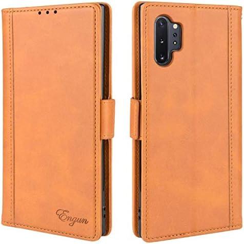 Galaxy Note 10 Plus ケース 手帳型 ギャラクシー Note 10 Plus カバー 財布型 マグネット式 横置き機能 カード収納 Qi充電対応 ストラップ通し穴 高級PUレザー Engun Samsung Galaxyノート10 プラス対応 ブラウン sy61-