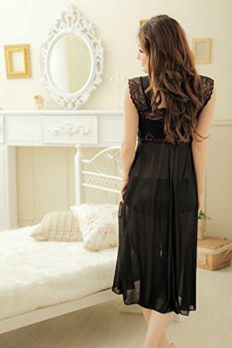 YICHUN largo para mujer pijamas camisón Retro lazo de encaje camisón transparente talla única Negro