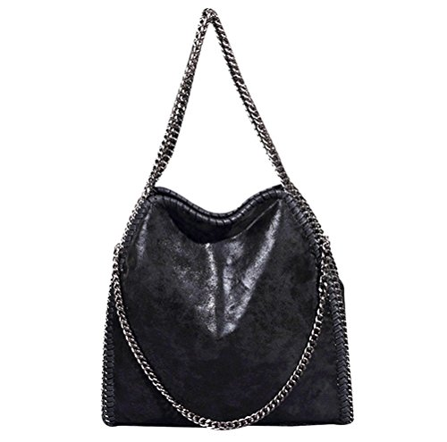 Womens Handbags Purse Tote Hobo Shoulder Crossbody Bags Chain Strap,Black