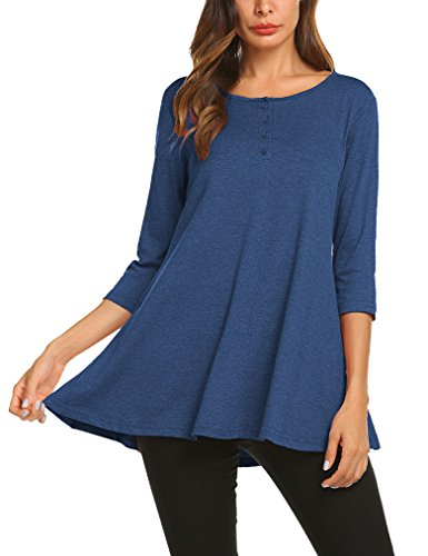 Qearal Womens Button Front Flared Comfy Loose Fit Tunic Top For Leggings Xxl Navy Blue