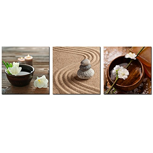 (Sea Charm - Zen Canvas Art,Art Decor Modern Flower in Bowl with Water and Candle Wall Art Painting on Canvas,Zen Stone Relaxation Calm Scene Home Decoration Artwork (12