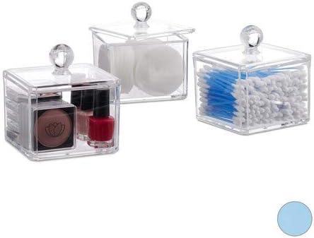 Redondos 12 x 15 x 8,5 cm con Tapa Relaxdays Set de 2 Cajas acr/ílicas para bastoncillos Transparente Discos de algod/ón