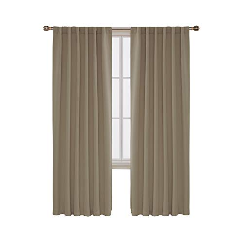 (Deconovo Solid Back Tab and Rod Pocket Curtains Room Darkening Panels Blackout Thermal Insulated Curtains for Bedroom 52x84 Inch Khaki 2 Drapes )