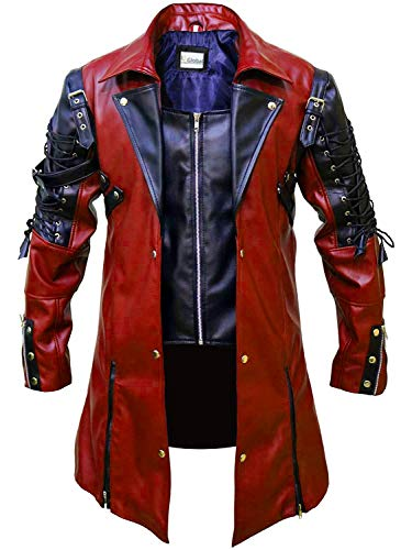 T&I Texas Red and Black Stylish Leather Jacket Coat - Red Mens Leather Coat