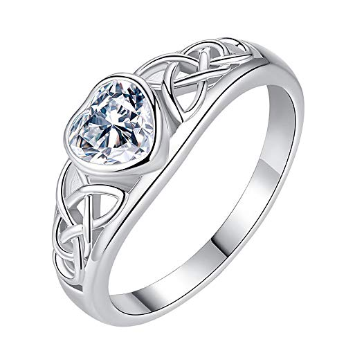 Zircon Round Rings Women Simple Heart Set With Zircon Diamond Ring Love-shaped Openwork Ring Promise Ring ()