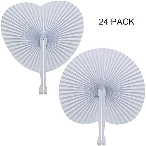 Bestage 20 Pack White Wedding Heart Shaped Handheld Folding Accordion Paper Fans for Wedding Birthday Party Favor Kids Gifts