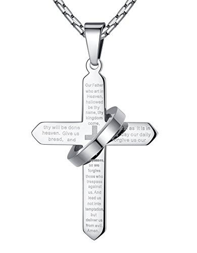 Men's Stainless Steel Lord's Prayer Cross Halo Pendant Necklace, Silver-Tone, 23'' Chain, ddp057yi