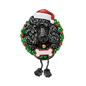 Personalized Black Poodle Pure Breed Christmas Tree Ornament 2019 - Fluffy Dog Dangle Paw Santa Hat Love Elegant Proud Clever Smart Play Fur-Ever New Loyal Family R.i.p. - Free Customization 3