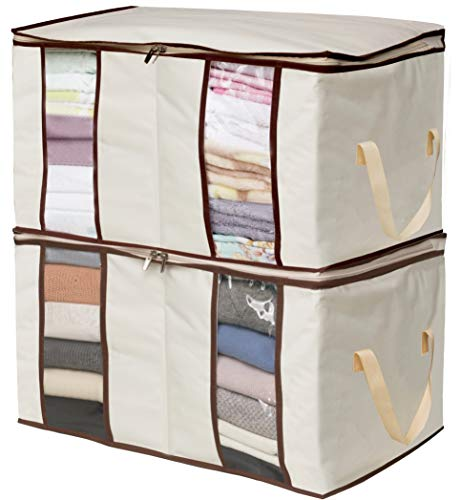 MISSLO Clothing Storage Bags 2 Divided Sections Closet Organizers for Clothes Blankets Linens (Beige)