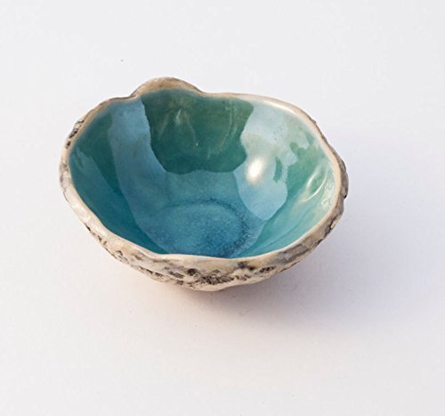 (Beautiful BERMUDA TURQUOISE handmade ceramic spice bowl, Stoneware pottery bowl, Ring bowl, Soy sauce bowl, Salt & Pepper bowl, Christmas gift, Birthday gift)