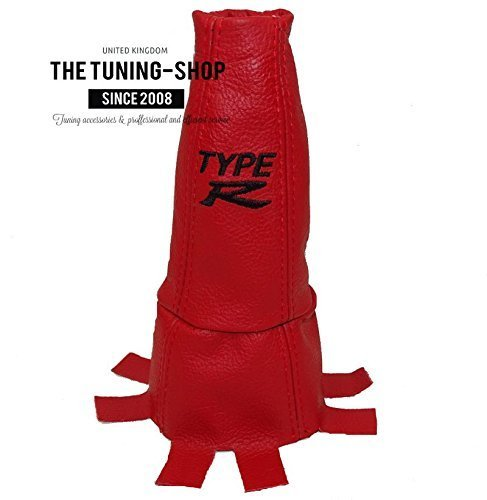 The Tuning-Shop Ltd Gear Gaiter Shift Boot Red Leather Embroidery Type R