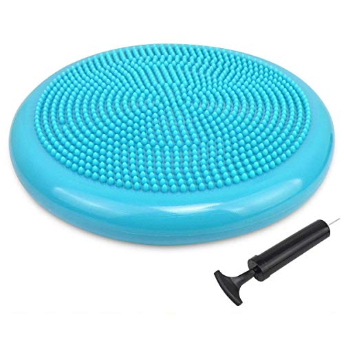 Trideer Inflated Stability Wobble Cushion with Pump, Flexible Seating Classroom, Extra Thick Core Balance Disc, Wiggle Seat for Sensory Kids (Office & Home & School) (34cm New Turkis)