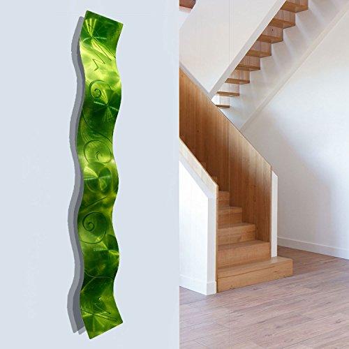Lime Green 3D Abstract Metal Wall Art Sculpture Wave - Modern Home Décor by Jon Allen - 46.5