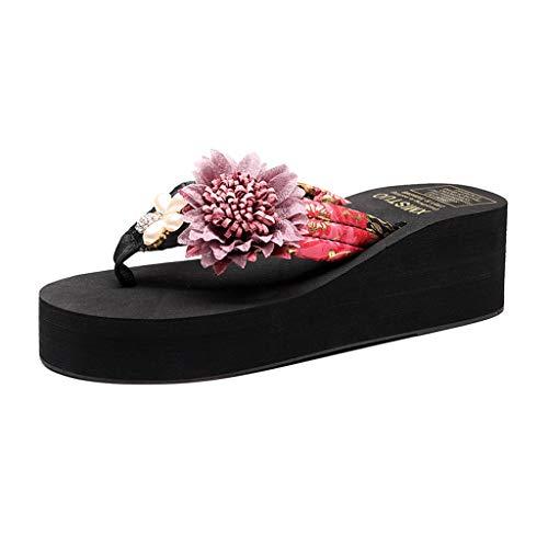 MIOKE Women's Summer Beach Wedge Flipflops Sandals Boho Flower Platform Anti-Slip High Heel Thong Sandals