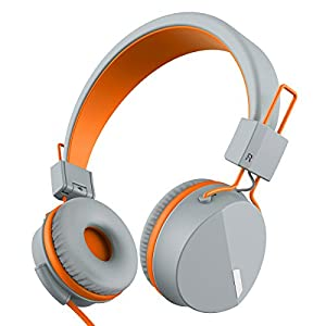 Kanen I39 Headphones On ear Foldable Noise Isolating Headsets with Mic and Remote for Kids Adults (Orange)
