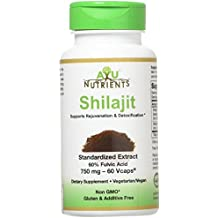 Shilajit Extract - 750/500 mg (60% Fulvic Acid) | Made in USA | Highest Potency and Purity on the Market - 60/120 Vegetarian Capsules for Weight (60 Ct)