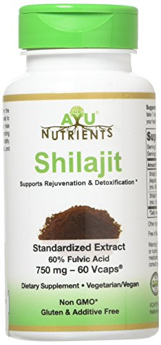 Shilajit Extract - 750 mg (60% Fulvic Acid) | Made in USA | Highest Potency and Purity on the Market - 60 Vegetarian Capsules for Weight Management,Libido,Energy and Vitality.