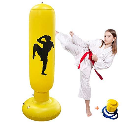 Inflatable Boxing Punching Bag, 63Inch Decompression Fitness Punching Bag Freestanding Boxing Bag, Best Gifts for Kids…