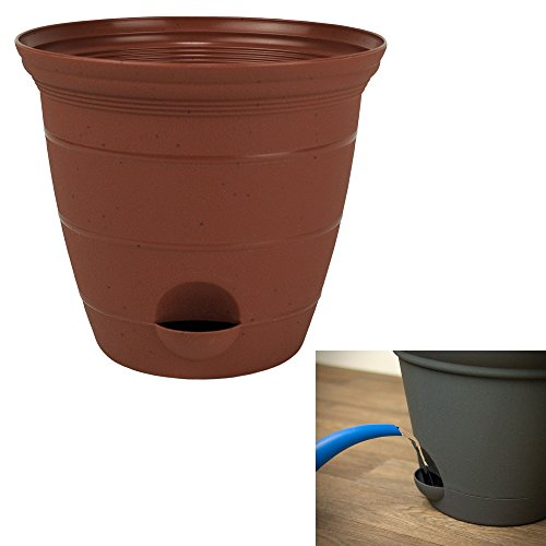 8 Inch Plastic Self Watering Flower Plant Pot Garden Potted Planter, Clay Color ()