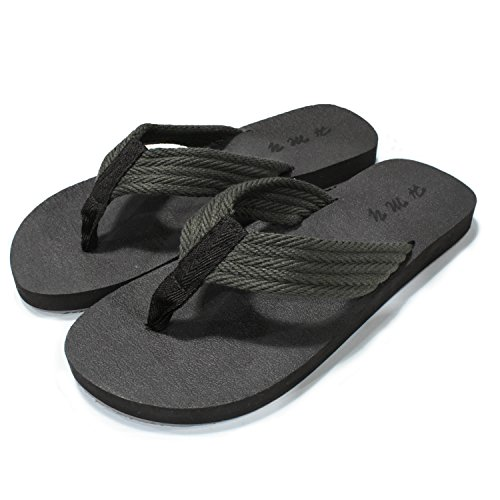 e75f61a777caa Men s Canvas Double Layers Flip Flops Arch Support Cushioned Thong ...