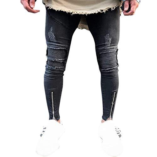 Skinny Pantaloni Estilo Nero Used Strappati Cerniera Especial Effetto Slim Da Con Jeans Stretch Casual Fit Uomo dxU1WySn