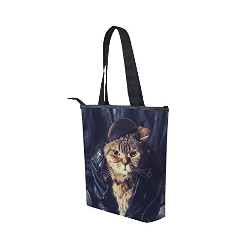 Womens Biker Tote Bag MyDaily Tote Cat Canvas MyDaily Shoulder Handbag SxxpCq8