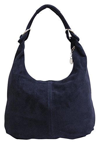 AMBRA de de Bolso mujeres La Moda WL822 de asas compartimiento grande las cuero Bolso de gamuza bolsa Azul hombro Bolso oscuro de Shopper de qfqrwCx6A