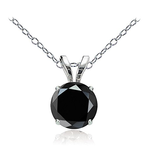Bria Lou 14k White Gold Natural Black Spinel Gemstone 6mm Round Solitaire Pendant Necklace, (Black Spinel Gem)