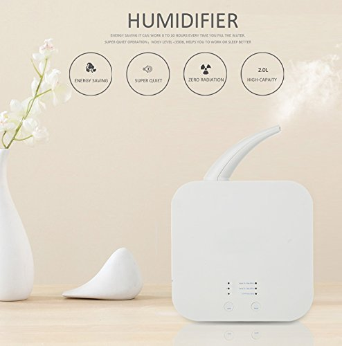 Hekitech Cool Mist Humidifier, 2L Ultrasonic Humidifying component with Whisper-Quiet, Automatic Shut-Off, for Office and Household by Hekitech (Image #3)