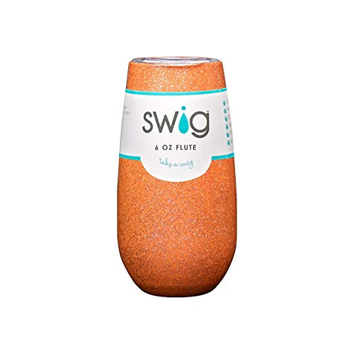 (Authentic Custom Swig 6 oz (ounce) Champagne Tumbler Cup Flute Mug (Coral Glam))