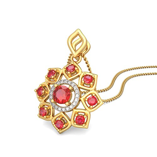 Or jaune 18K 0,06CT TW Round-cut-diamond (IJ | SI) et rubis Pendentif