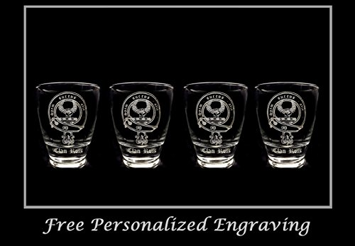 - Clan Ross Scottish Crest Clear Lowball Rocks Glass 10oz - Set of 4 - Free Personalized Engraving, Celtic Decor, Scottish Glass