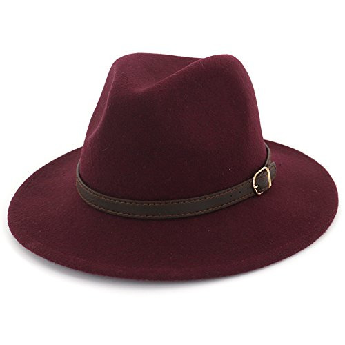 Lisianthus Women's 100% Wool Fedora Panama Hat Wide Brim with Belt Wine ()