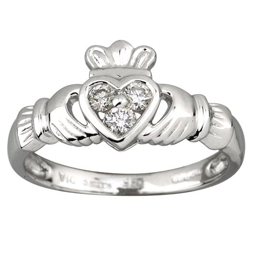 Claddagh Ring 14K White Gold & 3 Diamond Heart Sz 6.5