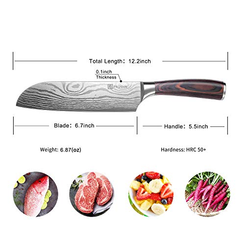 PAUDIN Classic 7 inch Hollow Ground Santoku Knife, German High Carbon Stainless Steel Kitchen Knife by PAUDIN (Image #6)
