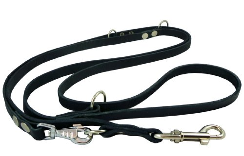 6-Way European Multifunctional Leather Dog Leash, Adjustable Schutzhund Lead 49″-94″ Long, 5/8″ Wide (15 mm), My Pet Supplies